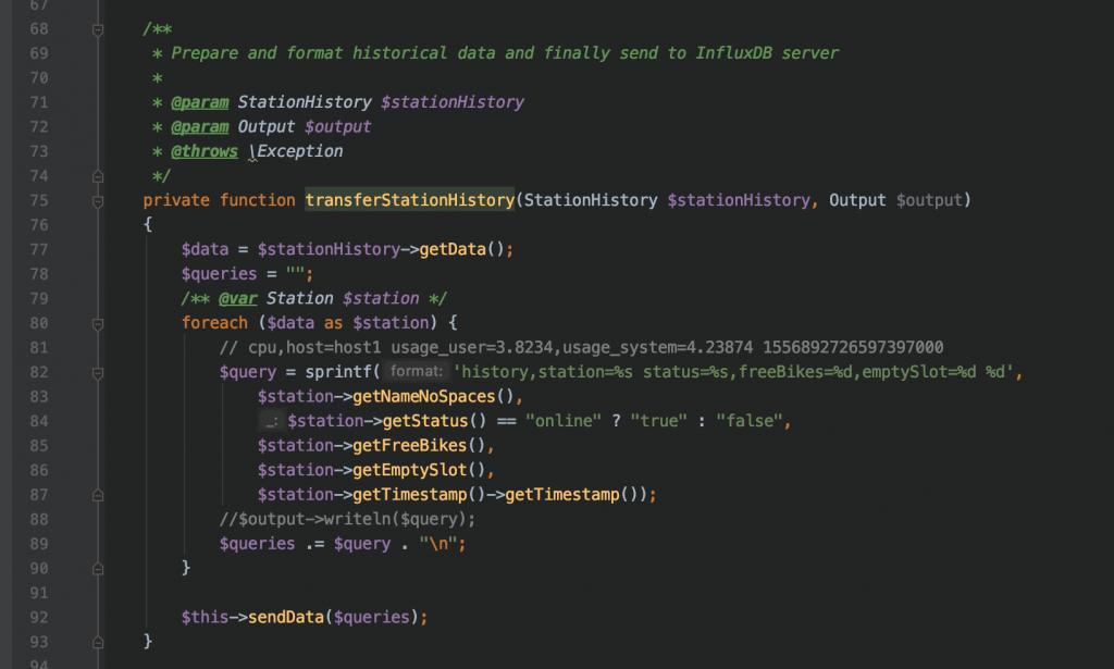 Codice PHP su framework Symfony